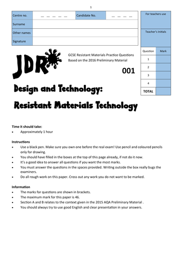 The needs of the elderly when gardening: Resistant Materials 2016 Preliminary Material Exams