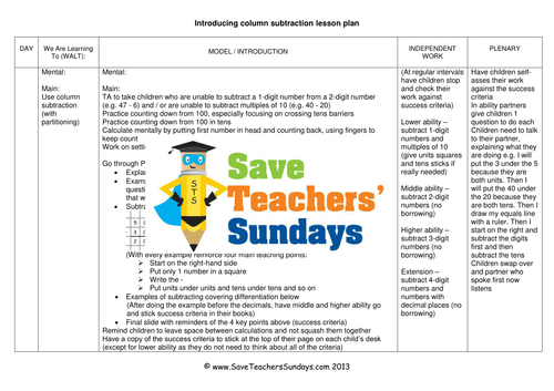 Expanded Column subtraction Worksheets Lesson Plans Presentation – Lesson Plan Worksheets