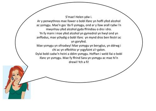 Welsh Second Language - Alcohol  ac Ysmygu KS4 Resources