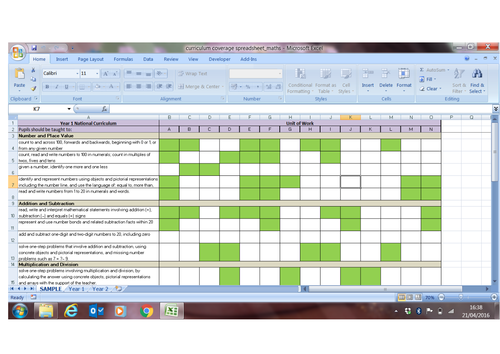 Curriculum Coverage Spreadsheet for KS1 Maths (2014)