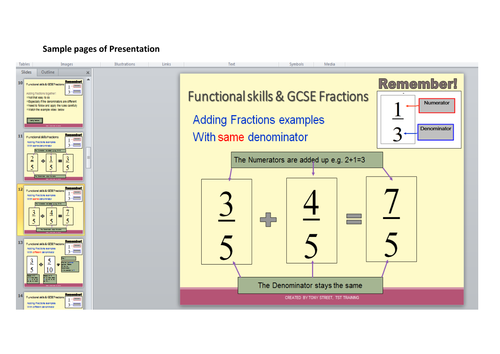 Functional skill Maths Fractions