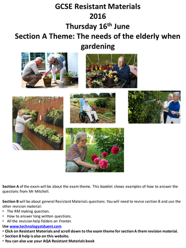 AQA GCSE Resistant Materials 2016 Section A Mock: The needs of the elderly when gardening