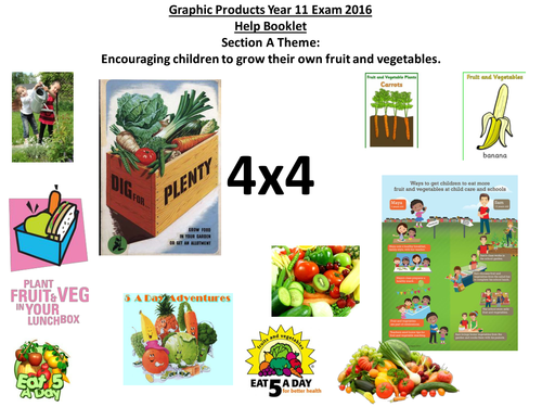 AQA GCSE Graphics 4x4 activity Sec A:Encouraging children to grow their own fruit and vegetables