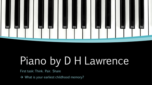 PIANO BY DH LAWRENCE. DETAILED ANNOTATION AND TASKS.