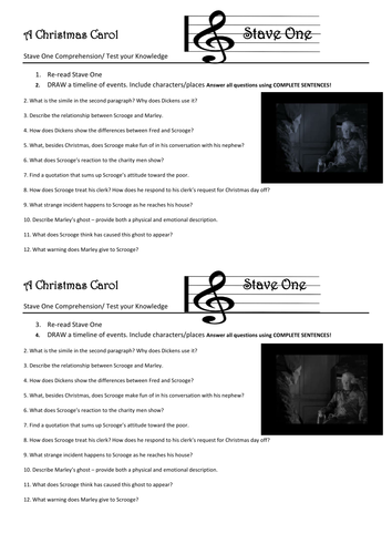 A Christmas Carol STAVE 1 Comprehension/ test your Knowledge questions | Teaching Resources