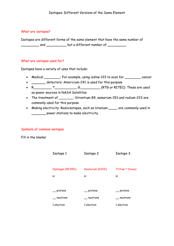 Isotopes Worksheet Definition Uses And Symbols By