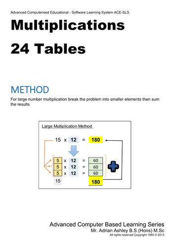 24 Time Tables FREE Book complete PDF download