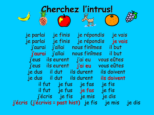 French Teaching Resources. The Past Historic. Presentation & Odd One Out Warmer.