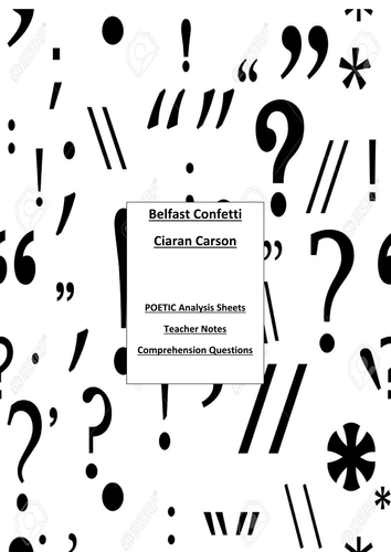 Belfast Confetti, Ciaran Carson Conflict Cluster 2017