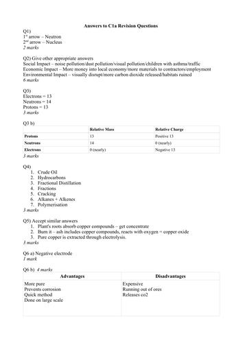 AQA C1 Revision Questions