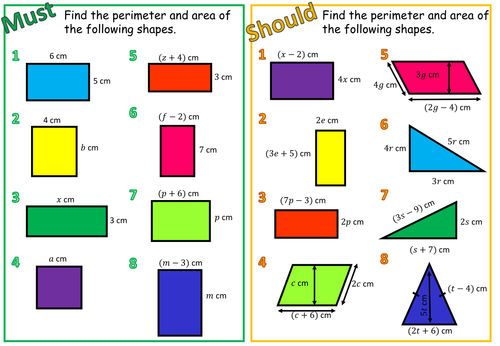 Areas And Perimeters With Algebra By Aframe Teaching