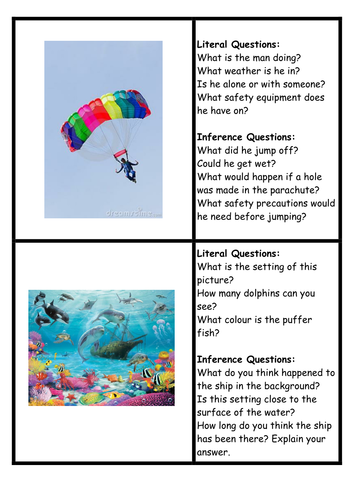 Inference Questions Picture Cards By Loz2710red Teaching Resources