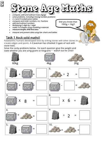 Stone Age Themed Maths Booklets With Answers