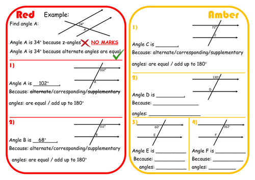 Angles in Parallel Lines Scaffolded Differentiated RAGE Sheet