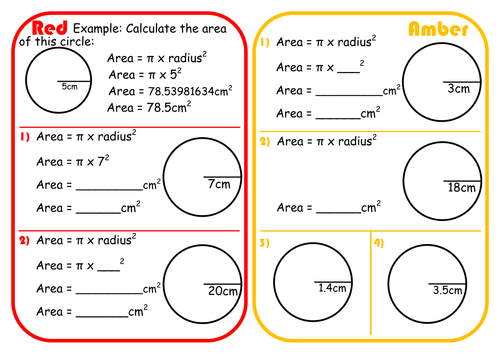 Area of a Circle Scaffolded Differentiated RAGE Sheet