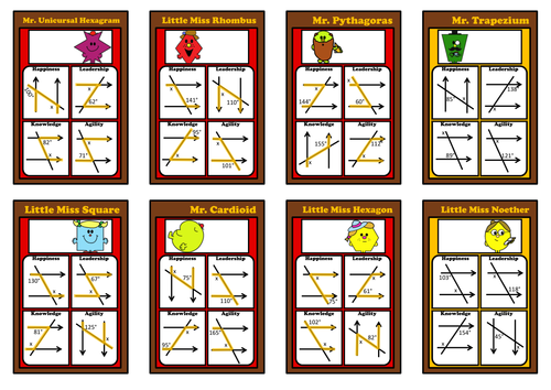 Maths Mr Men Angles in Parallel Lines Differentiated Top Trumps