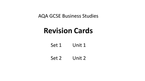 Business Revision Cards AQA GCSE Unit 1 and 2