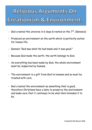 Religious Studies And The Environment Work Booklet