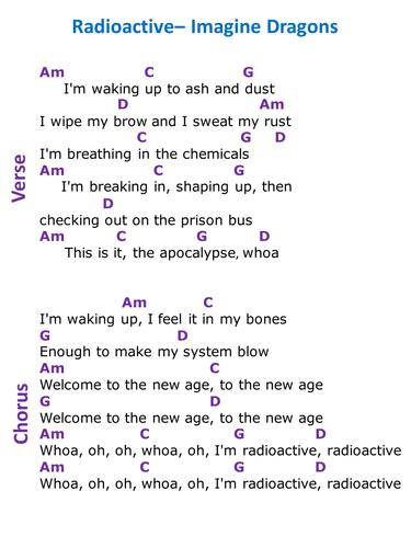 Radioactive Imagine Dragons Ks3 Performance Guide Sheets By