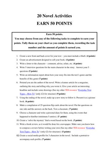 Novel Study Activity Sheet - !! 20 activities !! TIME SAVER FOR TEACHERS !!