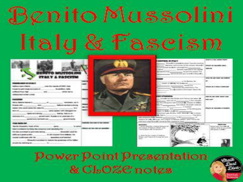 Benito Mussolini – Fascism in Italy PP Lecture (World History)