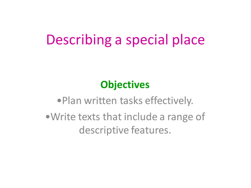 Descriptive Writing Place By Lottielizzie9 Teaching Resources Tes
