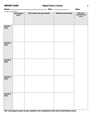 Report Card Template by FGB1701 - Teaching Resources - Tes