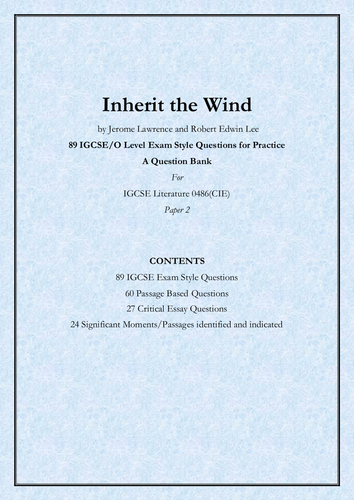 Inherit the Wind  by Lawrence and Lee_89 IGCSE-O Level Exam Style Questions_A Question Bank