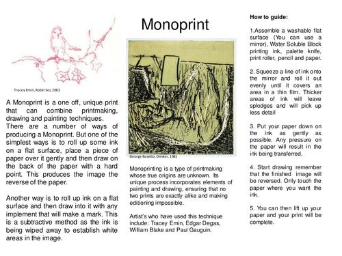 Printmaking Worksheets - KS3, 4 or 5