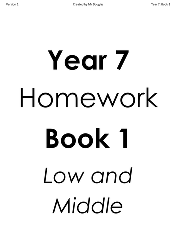 Year 7 and Year 8 Homework Books