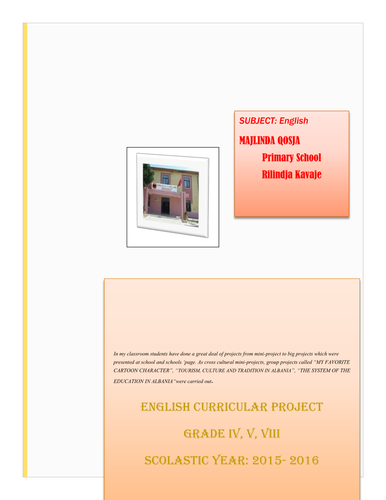 curricular projects in English  for grade 4-5 -8