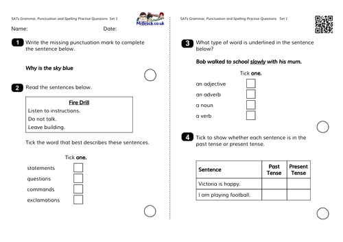 Grammar and Punctuation Questions similar to the 2016 Sample Test Paper