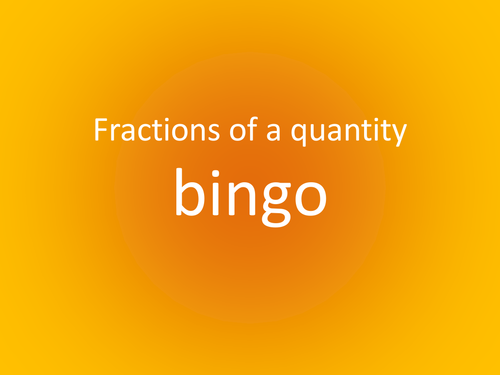 Fractions of a quantity Bingo