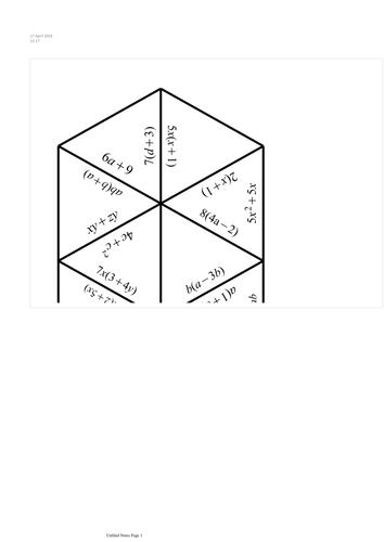 Algebra factorise tarsia