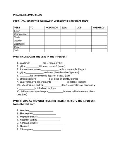 Imperfect tense spanish worksheet