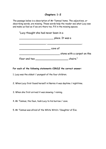 Narnia comprehension 2 page worksheet to review understanding of chapters 1-2