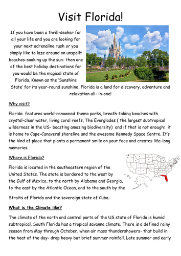 Travel Guide Writing based on NEW Geography curriculum N/S USA study -NEW KPIs Writing Standards