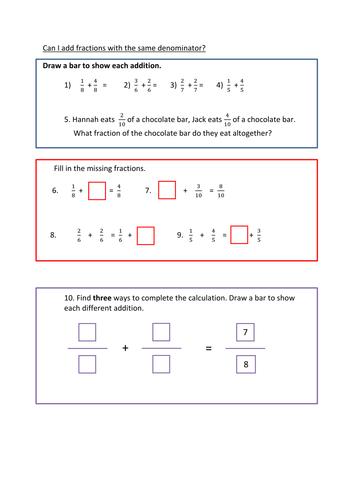 adding fractions same denominator fluency reasoning and problem  adding fractions same denominator fluency reasoning and problem solving  by bch  teaching resources  tes