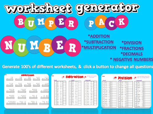 Mixed Number Worksheet Generator - 12 different topics of worksheets