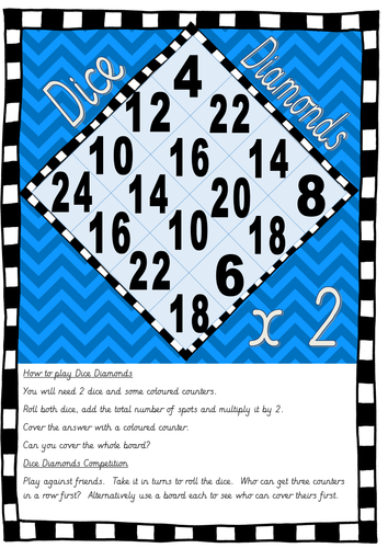 Dice Diamonds Multiplication Game - Multiples of 2 FREE