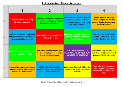 PE Roll a practical starter and Roll a homework grids (Rounders and Tennis) Athletics Coming Soon!!