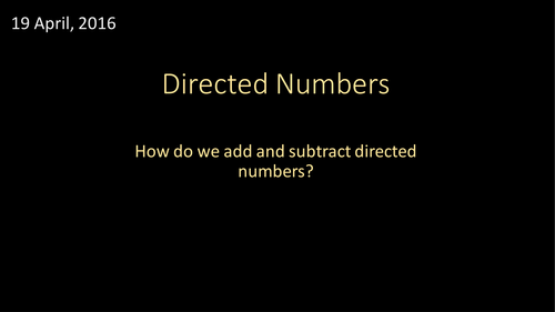 Adding and Subtracting Directed Numbers (including functional questions)