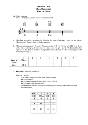 OCR GCSE Music Creative Task - Student 'How to' Guides - All 3 sets of Stimuli