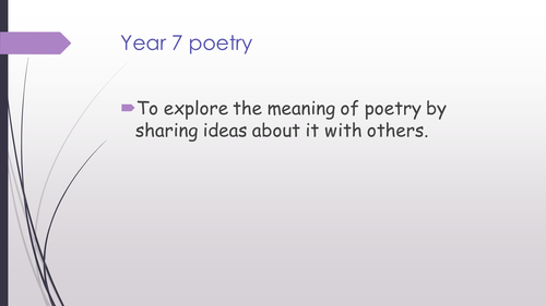 What is poetry? - Year 7 introduction