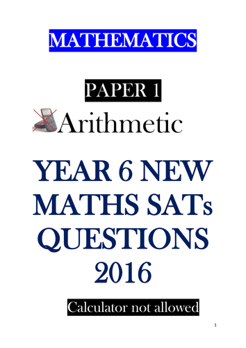 KS2 2016 SATs MATHs PAPERS  in the pack