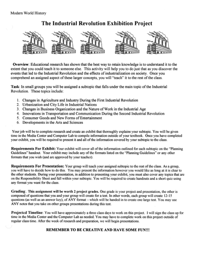 Industrial Revolution Project: museum exhibit with Rubric, daily guidelines and activities
