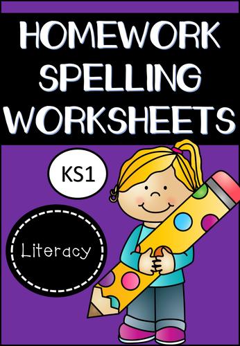 Spelling Homework Worksheets for KS1