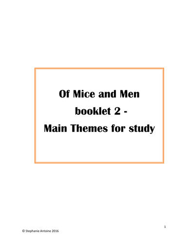 Of Mice and Men booklet 2 - Main Themes for Study