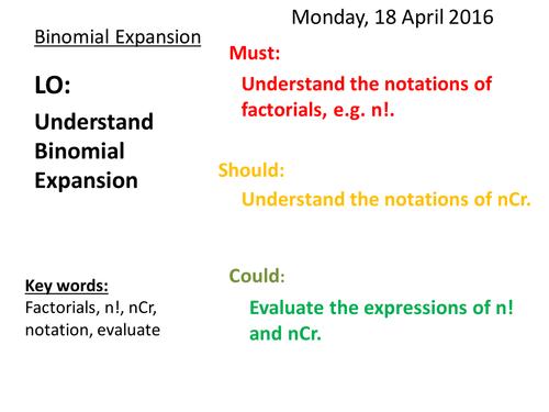 ncr Binomial expansion by nouchinjohn | Teaching Resources