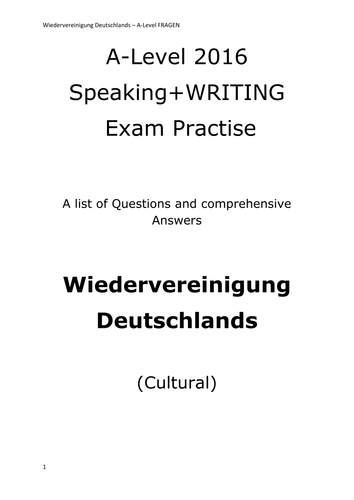 A2 German Speaking Test Questions and Answers - Wiedervereinigung Deutschlands - CULTURAL